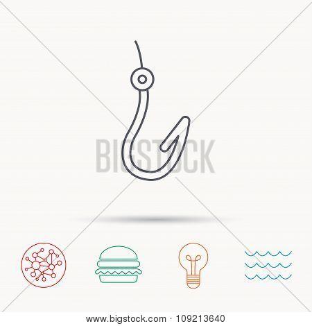 Fishing hook icon. Fisherman equipment sign.