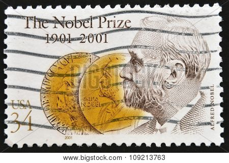 A stamp printed in USA shows an image of Alfred Nobel to commemorate the Nobel Prize centennial