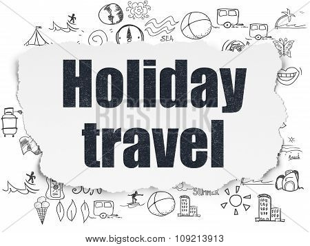 Travel concept: Holiday Travel on Torn Paper background