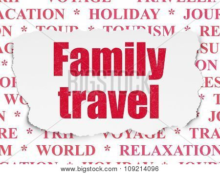 Travel concept: Family Travel on Torn Paper background