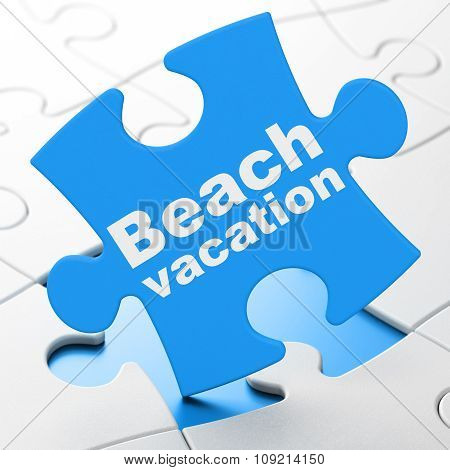 Vacation concept: Beach Vacation on puzzle background