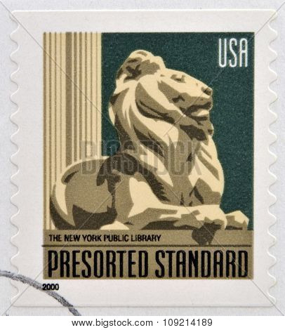A stamp printed in USA dedicated to The New York Public Library circa 2000