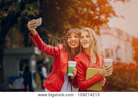 girls with phone