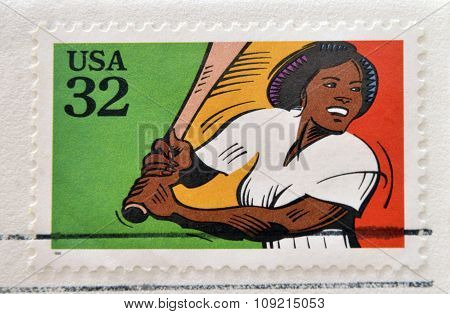 A stamp printed in USA dedicated to recreational sports shows softball circa 1995