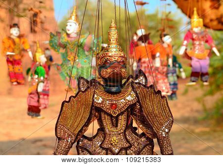 Myanmar string puppets for sale at local temple market in Bagan