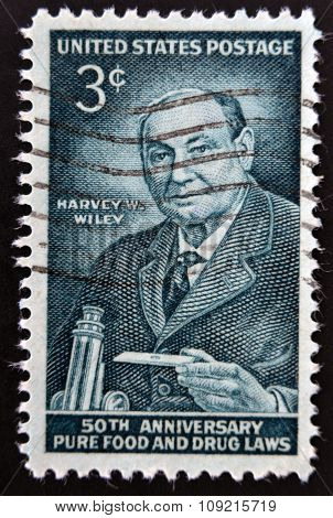 stamp printed in USA shows a portrait of Harvey Washington Wiley circa 1956