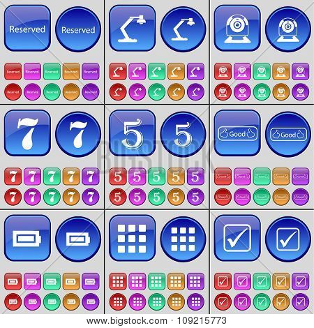 Reserved, Lamp, Web Camera, Seven, Five, Like, Battery, Apps, Tick. A Large Set Of Multi-colored