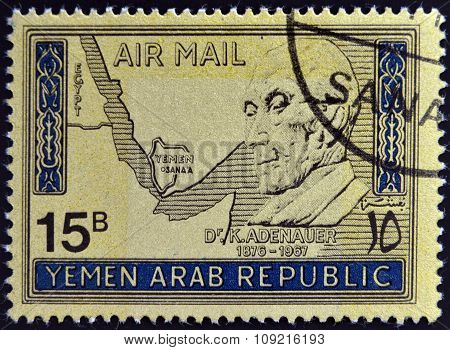 a stamp printed inYemen shows Konrad Adenauer German Politician Chancellor of West Germany from 1949