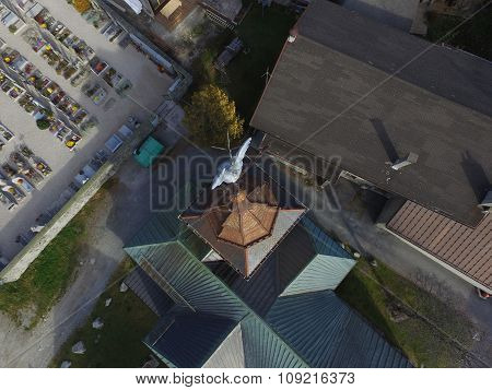 Church steeple from above