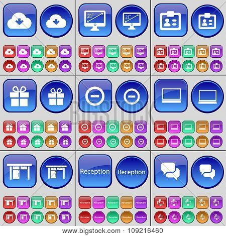 Cloud, Monitor, Contact, Gift, Minus, Laptop, Table, Reception, Chat Bubble. A Large Set Of Multi-