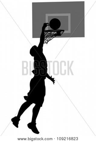 Silhouette man with ball on white background