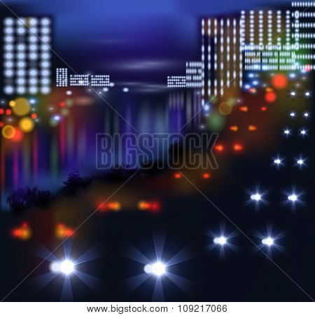 blurred lights in city night. Vector illustration