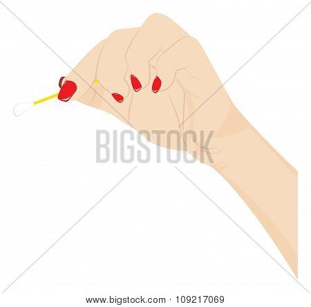 Female Hand With A Cotton Swab