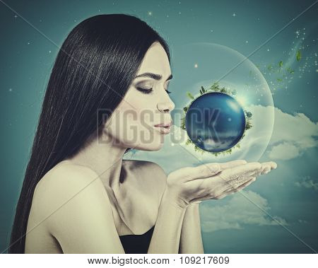 Blue Planet in her hands abstract eco backgrounds