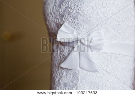 Sweet white wedding bridal dress details