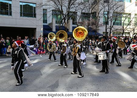 Marching Band At 2015 Harrisburg Holiday Parade