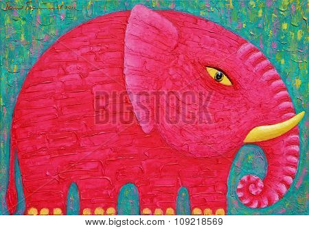 Red Elephant In Green Background.
