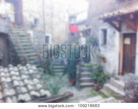 Defocused Background Of The Ancient Town Of Calcata, Italy
