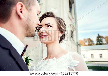 Wedding Couple, Bride And Groom Walking Outdoor
