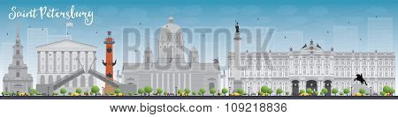 Saint Petersburg skyline with grey landmarks and blue sky. Business travel and tourism concept with historic buildings. Image for presentation, banner, placard and web site.
