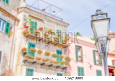 Defocused Background Of An Ancient Building In A Small Italian Old Town