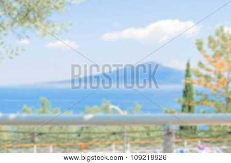 Defocused Background Of The Bay Of Naples And The Vesuvius