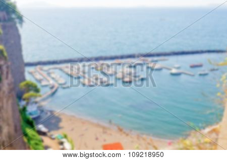 Defocused Background With Aerial View Of A Touristic Harbour In Sorrento, Italy