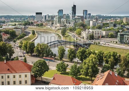 Aerial view of Old Town in Vilnius, capital city of Lithuania