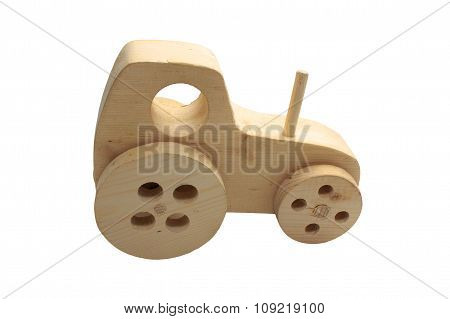 Child's wooden toy tractor
