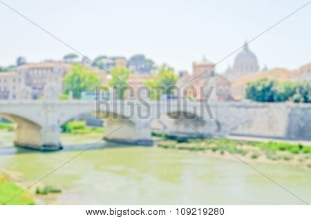 Defocused Background Of Vatican City And Tevere River In Rome