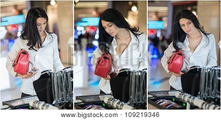 Attractive young woman fashion shot in mall. Beautiful fashionable young lady in white shirt in shop