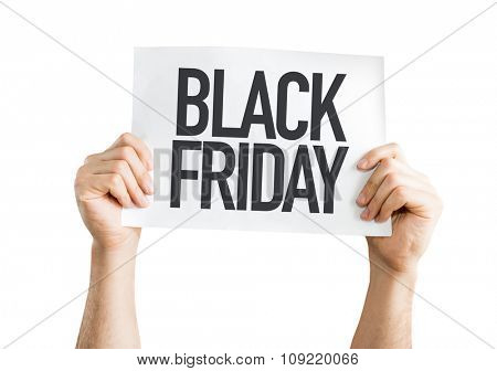 Black Friday placard isolated on white