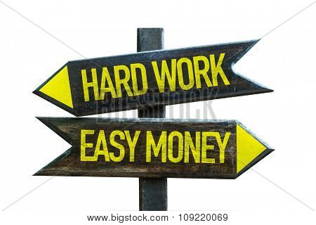 Hard Work - Easy Money signpost isolated on white background