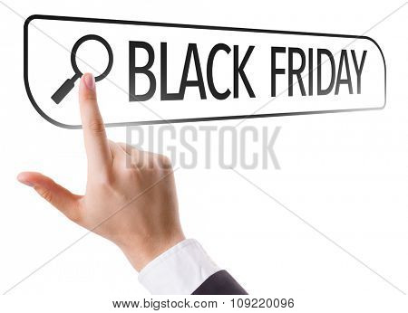Black Friday written in search bar on virtual screen