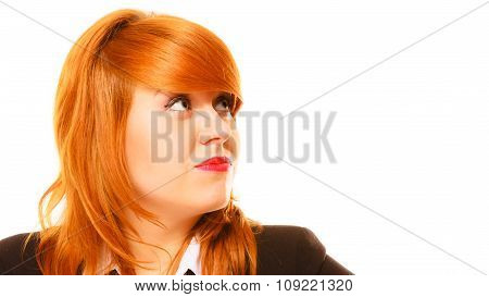 Thoughtful Red Haired Business Woman