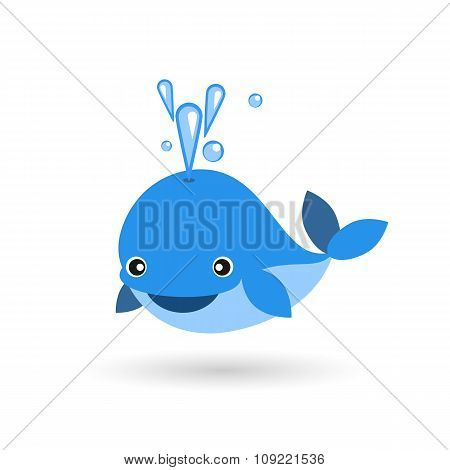 Cute Smiling Blue Whale Flat Icon