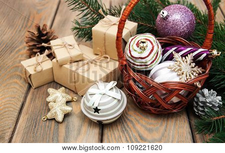Basket With Christmas Baubles
