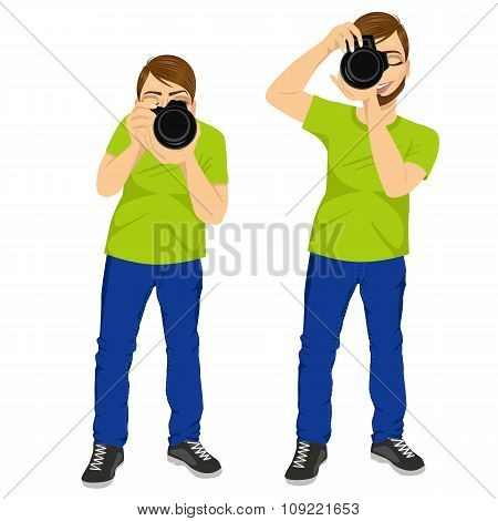 photographer man taking photos in two different poses