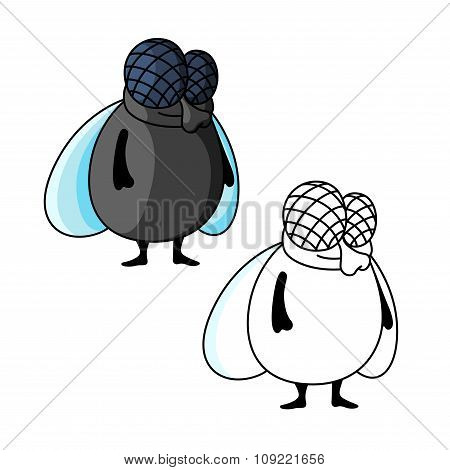 Shy smiling fat fly cartoon character