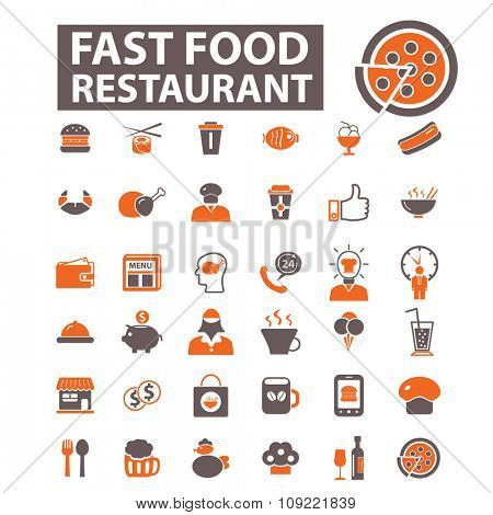 fast food restaurant  icons, signs vector concept set for infographics, mobile, website, application