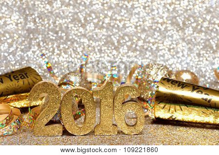 New Years Eve 2016 decorations with twinkling light background