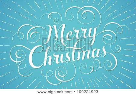 White lettering Merry Christmas for greeting card on blue background. Vector illustration.