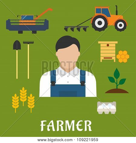 Farmer profession and agriculture flat icons