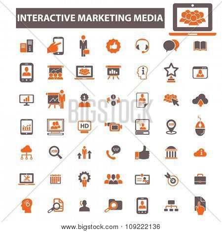 interactive education, information, knowledge, science, learning, study, research  icons, signs vector concept set for infographics, mobile, website, application