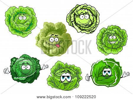 Cartoon crunchy green cabbage vegetables