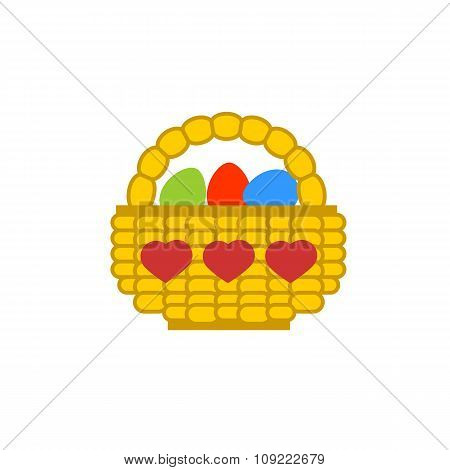 Easter Basket Colored Flat Icon