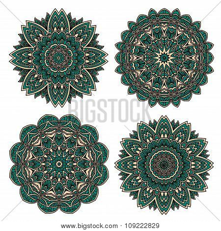 Lace floral pattern with emerald flower petals