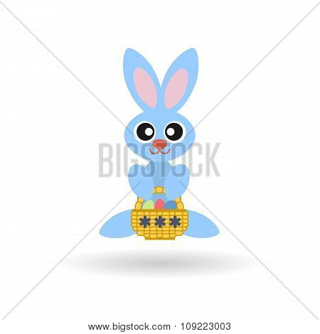 Easter Bunny Colored Flat Icon