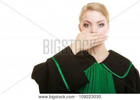 Woman Lawyer Barrister Covering Mouth With Hand.