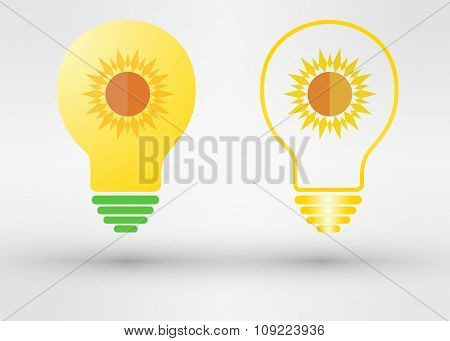 Light Bulb With Sun. Vector